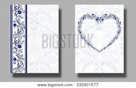 Vertical Wedding Invitation Cards With Blue Flower Ornament Heart Shaped. Ethnic Style Of Painting O