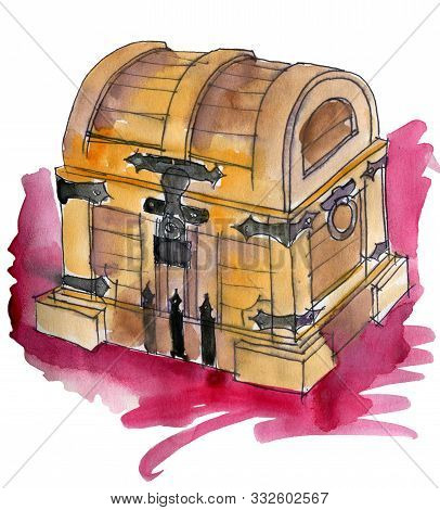 Watercolor Sketch Of Wooden Chest On White Background