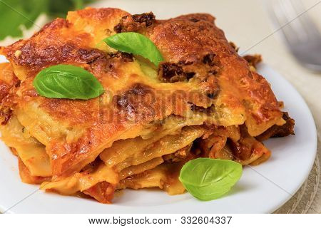 Lasagne With Basil Leafs Served On A White Plate