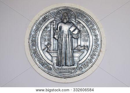 ZAGREB, CROATIA, SEPTEMBER 14, 2019: Saint Benedict, relief in the Church of Saint Benedict in Micevec, Zagreb, Croatia
