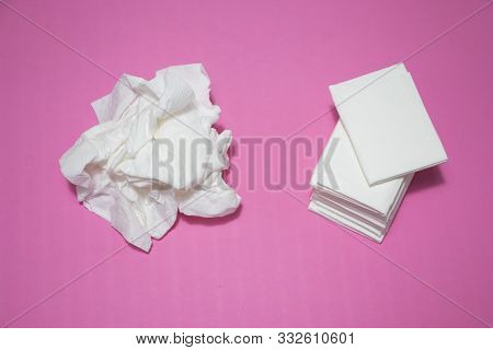 Used And New Tissues On Pink Background. Concept Of Sick, Flu And Cold, Crying, Untidy, Masturbation