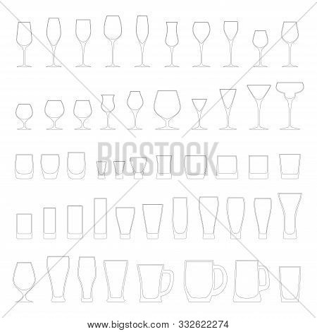 Vector Illustration Of Alcohol Glassware Line Icons. Fully Editable 50 Empty Glasses For Wine, Beer,