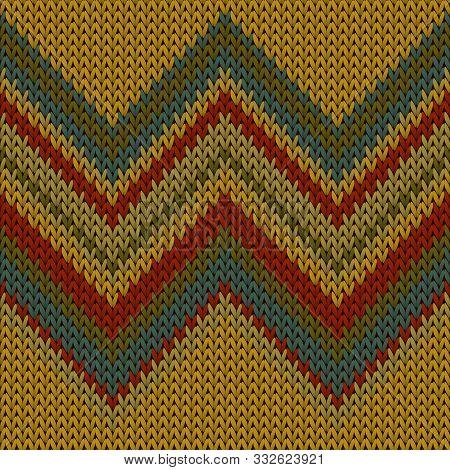 Cool Zig Zal Lines Knitting Texture Geometric Vector Seamless. Ugly Sweater Knitwear Fabric Print. S