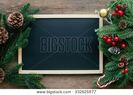 Holiday Christmas Wood Wallpaper With Blackboard. Christmas Card Background With Chalkboard And Fest