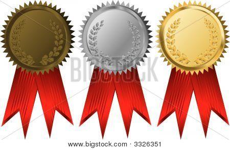 Vector Gold Silver And Bronze Award Ribbons