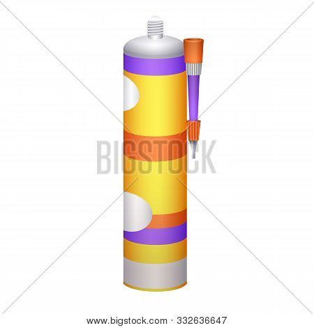 Silicone Gun Icon. Cartoon Of Silicone Gun Vector Icon For Web Design Isolated On White Background