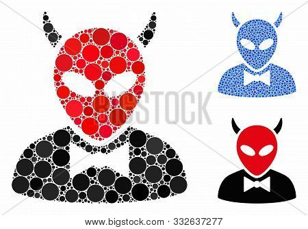 Devil Mosaic Of Small Circles In Various Sizes And Color Tones, Based On Devil Icon. Vector Small Ci