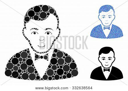 Dealer Mosaic Of Round Dots In Various Sizes And Color Tones, Based On Dealer Icon. Vector Dots Are