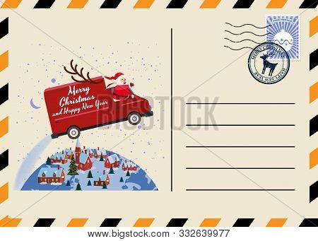Christmas And New Year Postcard With Stamps And Mark. Van Flies Through The Night Sky Above The Eart