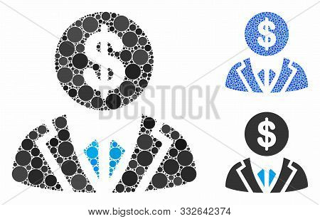 Banker Composition Of Small Circles In Variable Sizes And Color Hues, Based On Banker Icon. Vector S