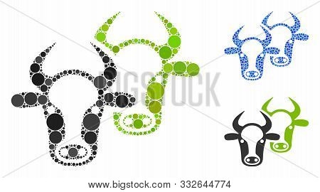 Livestock Mosaic Of Filled Circles In Different Sizes And Color Tinges, Based On Livestock Icon. Vec