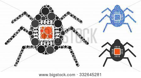 Spy Bug Mosaic Of Round Dots In Various Sizes And Color Tints, Based On Spy Bug Icon. Vector Round D