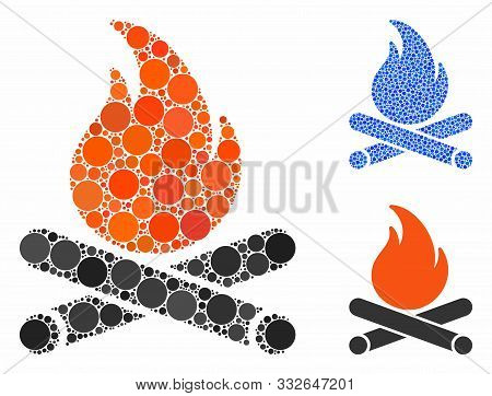 Campfire Mosaic Of Circle Elements In Various Sizes And Color Hues, Based On Campfire Icon. Vector C