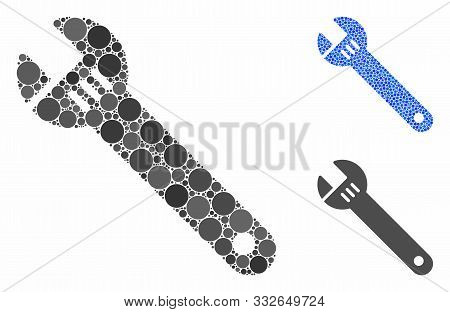 Spanner Mosaic Of Round Dots In Various Sizes And Shades, Based On Spanner Icon. Vector Round Dots A