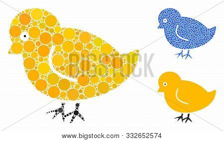 Nestling Chick Mosaic Of Small Circles In Various Sizes And Color Tones, Based On Nestling Chick Ico