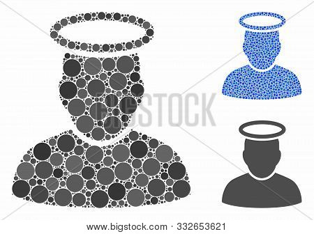 Holy Man Composition Of Filled Circles In Variable Sizes And Shades, Based On Holy Man Icon. Vector
