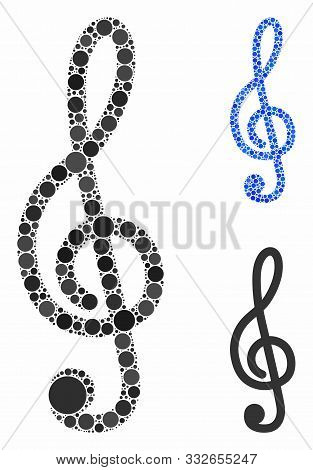 Treble Clef Mosaic Of Round Dots In Different Sizes And Shades, Based On Treble Clef Icon. Vector Do