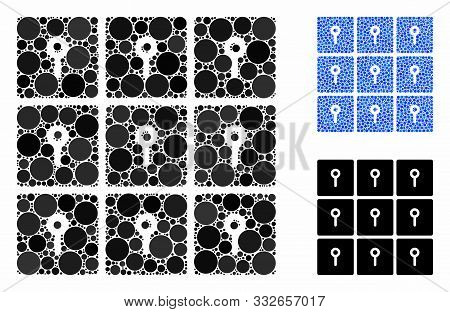 Lockers Mosaic Of Circle Elements In Variable Sizes And Shades, Based On Lockers Icon. Vector Circle