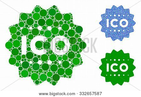 Ico Token Mosaic Of Round Dots In Various Sizes And Color Tints, Based On Ico Token Icon. Vector Ran