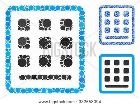 Keypad Mosaic Of Circle Elements In Various Sizes And Color Hues, Based On Keypad Icon. Vector Circl
