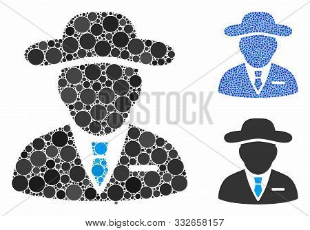 Agent Composition Of Round Dots In Different Sizes And Color Hues, Based On Agent Icon. Vector Round