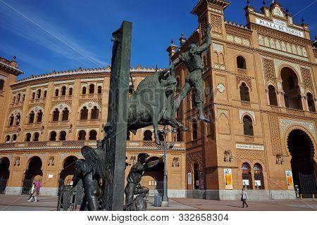 Madrid, Spain - January 24, 2018:  Statue In Front Of Las Ventas Bullring (plaza De Toros De Las Ven
