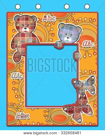 Cute Kids Flag With Bears On Blue Background
