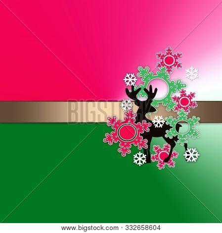 Deer Card Gradient Poster Illustration Card, Christmas