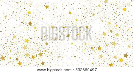 Golden Glitter Confetti. Light Backdrop. White Abstract Texture. Vector Abstract Graphic Design. New