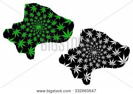 Qom Province (provinces Of Iran, Islamic Republic Of Iran, Persia) Map Is Designed Cannabis Leaf Gre