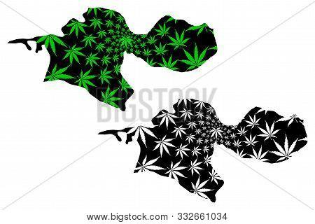 Tehran Province (provinces Of Iran, Islamic Republic Of Iran, Persia) Map Is Designed Cannabis Leaf
