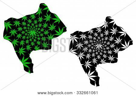Yazd Province (provinces Of Iran, Islamic Republic Of Iran, Persia) Map Is Designed Cannabis Leaf Gr