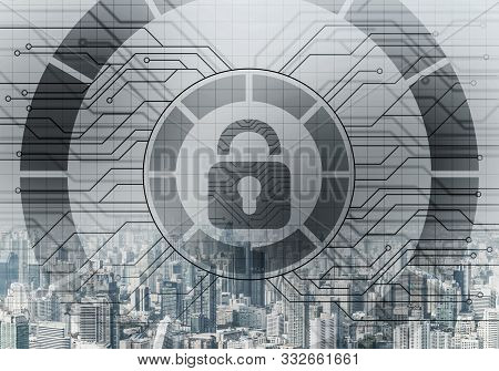 Global Cybersecurity Mixed Media With Virtual Locking Padlock On Cityscape Background. Data Cryptogr