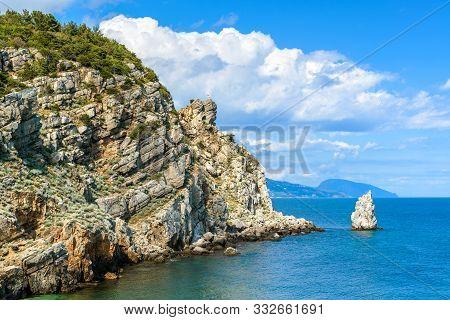 Landscape Of Crimea In Summer, Russia. Rocky Coastline In The Black Sea. Scenic Marine View Of The C