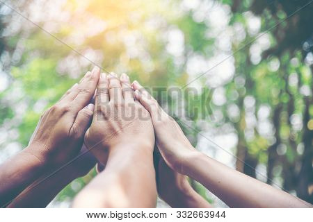 People Hands Assemble As A Connection Meeting Teamwork Concept. Group Of People Assembly Hands As Bu