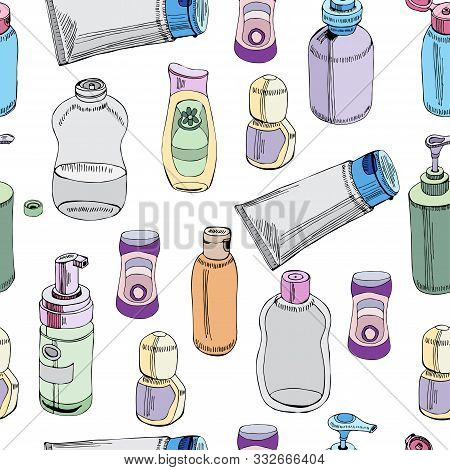 Seamless Pattern Of  Hand Drawn Sketch Of Cosmetic Package. Bottle, Tube, Flask. Colored Objects Iso