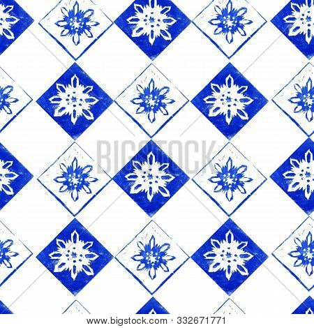 Seamless Pattern Of  Blue Snowflakes In Frame Isolated On White Background. Hand Made Lino Cut. Elem