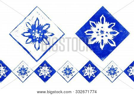 Abstract Composition With Endless Border Of  Blue Snowflakes In Frame Isolated On White Background.
