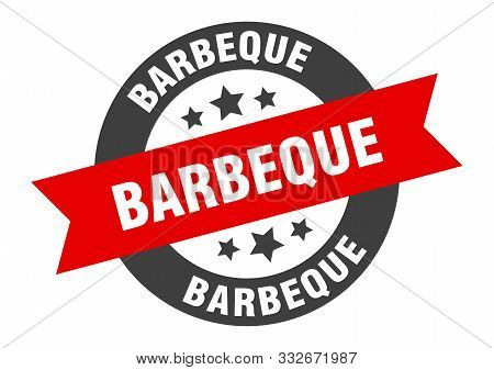 Barbeque Sign. Barbeque Black-red Round Ribbon Sticker