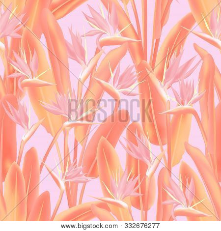 Tropical Crane Flower Vector Seamless Pattern. Jungle Plant Paradise Tropical Summer Fabric Design.