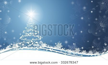 Christmas Tree On Blue And White Background. Sparkling Christmas Tree As Symbol Of Happy New Year An