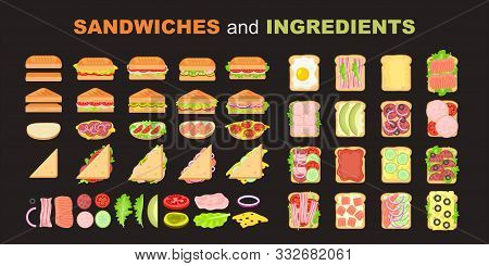 Sandwich Vector Set. Ingredients: Buns, Cheese, Bacon, Tomato, Onion, Lettuce, Cucumbers, Pickle Oni