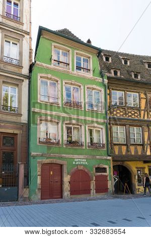 Historic Old Half-timbered Houses In The Old City Center Of Strasbourg
