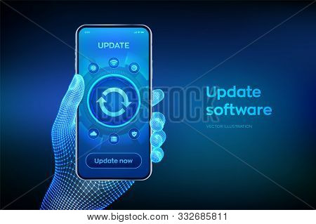 Update Software. Upgrade Software Version Concept On Smartphone Screen. Computer Program Upgrade Bus