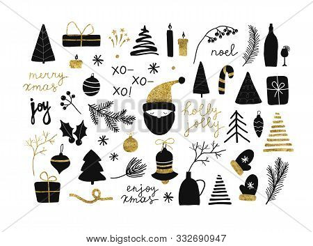 Set Of Christmas New Year Winter Black Icons With Gold Texture Xmas Tree, Gifts, Balls, Snowflake, L
