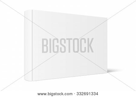 Vector Mock Up Of Standing Book With White Blank Cover Isolated. Closed Horizontal Hardcover Book, C
