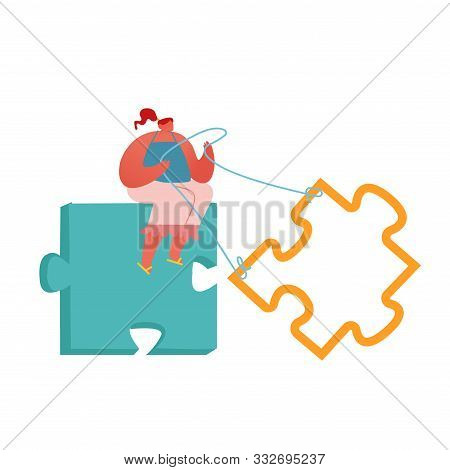 Creative Idea Integration, Problem And Task Solution In Business Concept. Woman Sitting On Huge Jigs