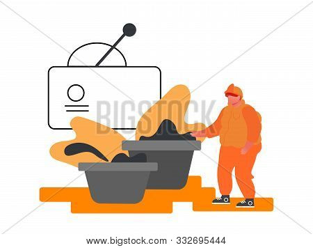 Metallurgy Industry Laborer In Working Uniform Stand At Containers With Raw Ore Inspecting Material