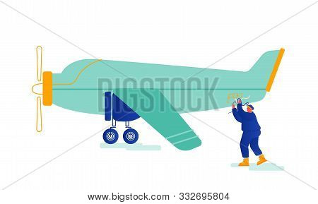 Service Engineer Repair Vintage Airplane With Propeller Engine On Aerodrome Fixing Broken Wires. Air