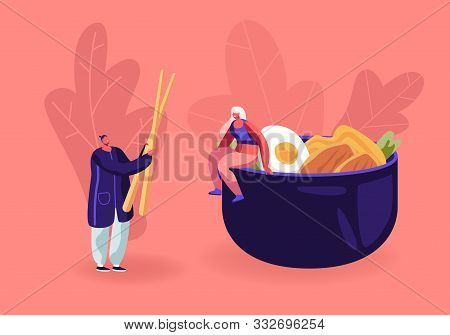 Chinese Food And Asian Gastronomy Concept. Tiny Woman Sitting On Huge Bowl With Meat, Vegetables And